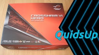 A look at ASUS ROG Crosshair VI Hero X370, a beautiful looking AMD AM4 motherboard. Dimensions 30.5 x 24.4 x 3cm (ATX)DDR4 3,200MHz up to 64GB2 x PCIe 3.0 x16 1 x PCIe 2.0 x163 x PCIe 3.0 x110 x USB 3.1 Gen 1 port(s) (4 at back panel, blue)6 x USB 2.0 port(s) (4 at back panel, black, 2 at mid-board)2 x USB 3.1 Gen 2 port(s) (2 at back panel, black+red, Type-A + USB Type-CAffiliate link: https://www.amazon.co.uk/gp/product/B06WXX7DYK/ref=as_li_tl?ie=UTF8&camp=1634&creative=6738&creativeASIN=B06WXX7DYK&linkCode=as2&tag=quidsup-21&linkId=66dd0d7946f50fa61434d585d0d16fdeMy system build: https://pcpartpicker.com/list/LZVn4CCase Dimensions:495mm x 230mm x 542mm (L x W x H)Weight: 9.31Kghttp://www.bequiet.com/en/case/546Please donate and help support my work:Patreon: https://www.patreon.com/quidsupPaypal: https://www.paypal.me/quidsupGoogle+ https://google.com/+quidsupTwitter: https://twitter.com/quidsupMinds: https://minds.com/quidsup