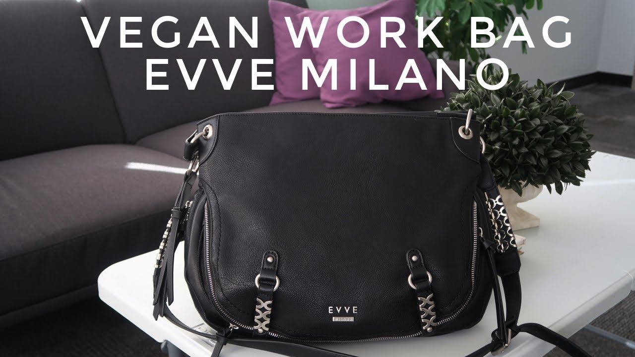 MY VEGAN WORK BAG EVVE MILANO + WHAT'S IN MY MAKEUP BAG | Thefabzilla