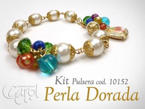 KIT 10152 Kit pulsera perla dorada x und