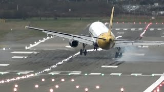 """There was so much going on during Storm Doris on 23rd February 2017, with easily the strongest winds since I started filming planes four years ago, that I've had to break the footage into several parts.This part shows the 8 """"aborted landings/missed approaches"""" at BHX as winds gusted upto max 54 knots/62 mph.Strictly, the Qatar Dreamliner wasn't a """"go-around"""" as the pilot chose not to give Birmingham a second go - understandable, as this was at the height of the storm (see the plane bucking in the turbulence as it climbed away).The other videos from this day are:crosswind in close-up - https://www.youtube.com/watch?v=vJzDRsEKDa04 awkward approaches in wider angle -https://www.youtube.com/watch?v=-T3p9vFXfPkflying debris -https://www.youtube.com/watch?v=6OmwRMj9eHQ"""