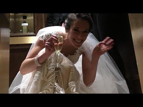 Bride Gets Stuck in Elevator on Wedding Day (видео)