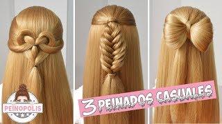 3 Peinados Casuales con Cabello Suelto  Trenzas Faciles y Rapidas