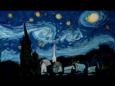 Artist Gorgeously Recreates Van Gogh  s  Starry Night  and  Self Portrait  by Swirling Paint in 93289389776783686