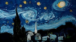 Van Gogh on dark water, Marbling art
