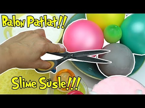 Metalik Balondan Ne çikarsa Dev Slime Tarifi Making Slime With