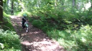 9. 5 year old ramping his Kawasaki kdx50