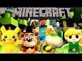 Pikachu Freddy Bowser Jr And Link Play Minecraft
