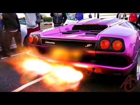 lamborghini diablo sv - huge flames
