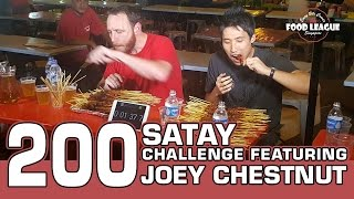 Satay is an Indonesia originated dish of seasoned, skewered and grilled meat that is commonly enjoyed in Singapore. Watch the world's ranked #1 eater - Joey Chestnut & I battle on with 200 sticks of Satay.Joey's link - https://youtu.be/OW2CBpT_V58