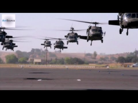 Video of 11 UH-60 Black Hawk helicopters...