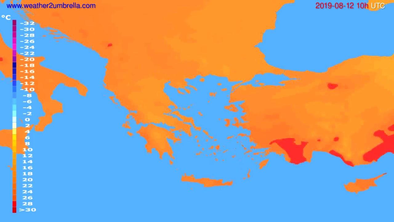 Temperature forecast Greece // modelrun: 00h UTC 2019-08-10