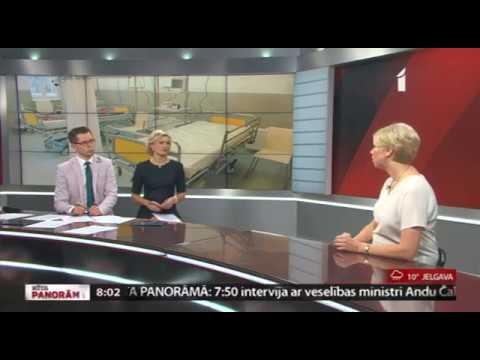 """Veselības ministre Anda Čakša sniedz interviju LTV raidījumā """"Rīta Panorāma""""."""