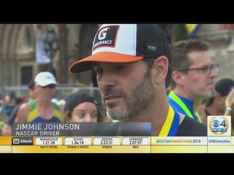 NASCAR Champion Jimmie Johnson Completes Boston Marathon Run