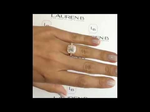 1 ct Cushion Cut Diamond 2-Tone Double Halo Engagement Ring