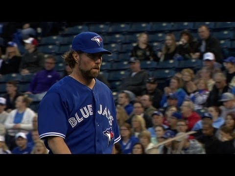 dickey - 4/13/13: R.A. Dickey picks up his first win in a Blue Jays uniform with 6 1/3 strong innings, giving up only one run and striking out four.