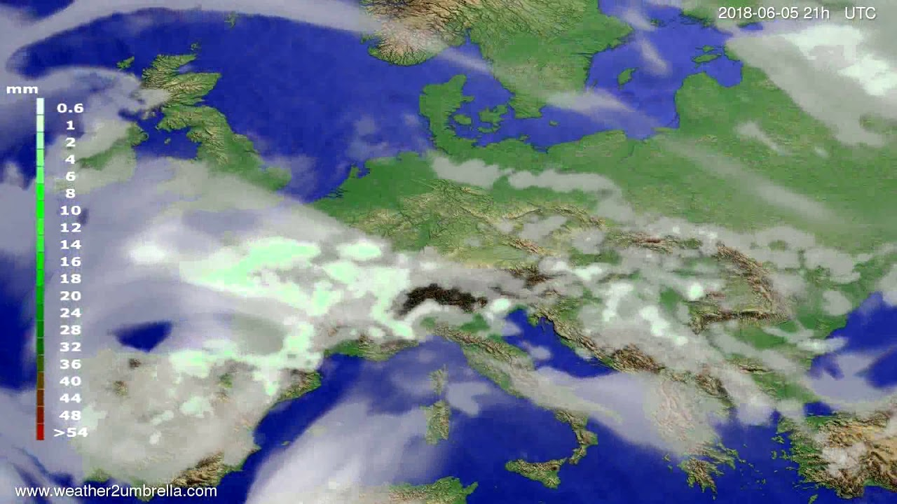 Precipitation forecast Europe 2018-06-02