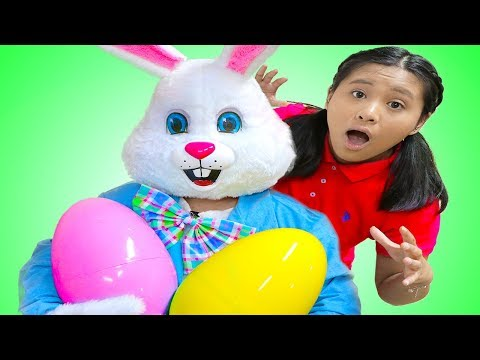 Funny Easter Bunny Has Happy Easter Surprise Egg Toys Hunt for Kids