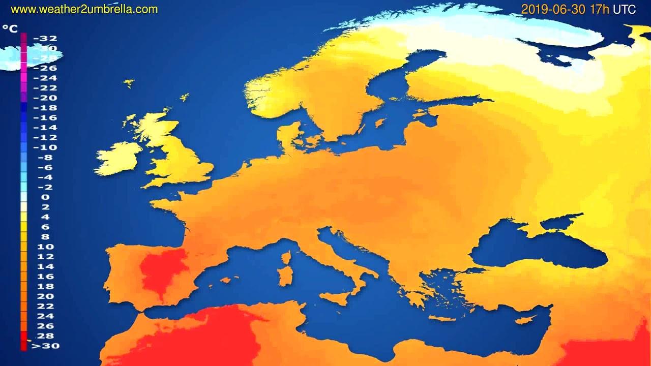 Temperature forecast Europe // modelrun: 12h UTC 2019-06-28