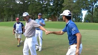 Robert Streb jars his approach from the fairway for eagle at Wyndham by PGA TOUR