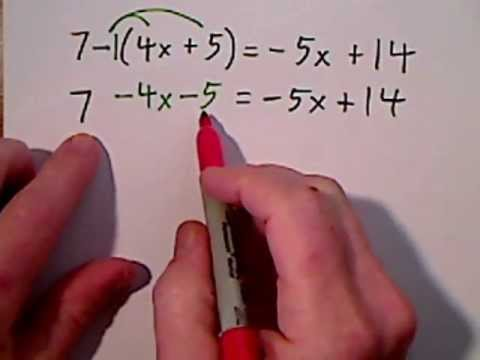 Solving Algebraic Equations Involving Parentheses (видео)