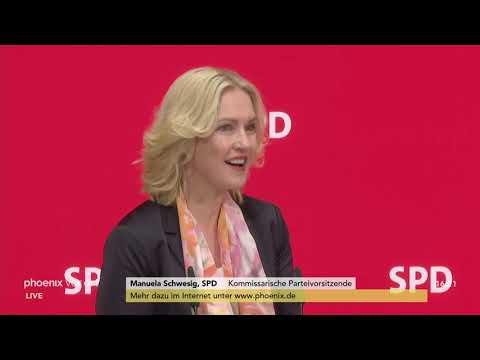 Pressekonferenz der SPD-Parteispitze zum künftigen Pa ...