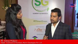 Mr. Aditya Malpani, Head –  Contracts & Purchase, Mantri Developers Pvt. Ltd., talks about low cost green building concept, sustainable urbanization & more – at Smart Green Summit and Awards, 2016