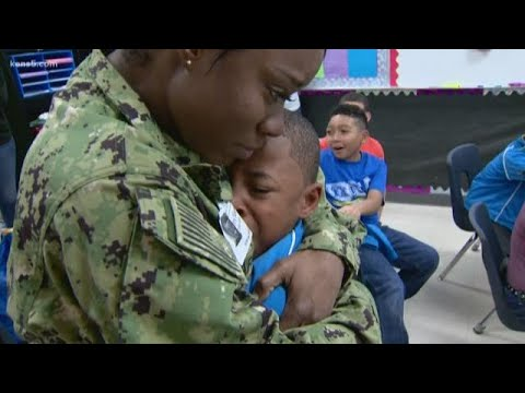 Military mom returns home, surprises sons
