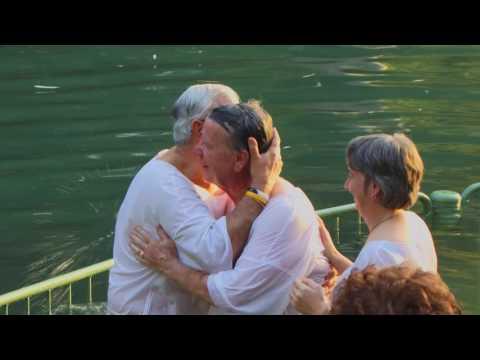 Vízkeresztség a Jordán folyóban Éjféli Kiáltás Misszió zarándokút