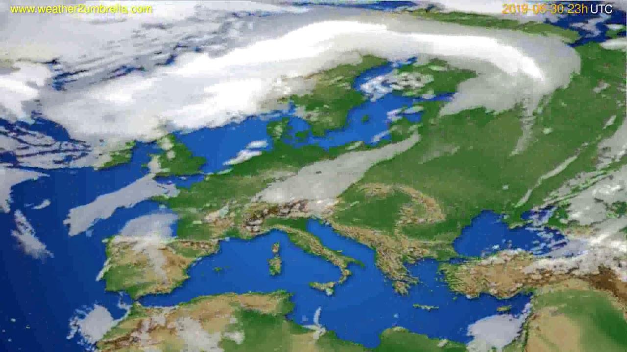 Cloud forecast Europe // modelrun: 12h UTC 2019-06-27