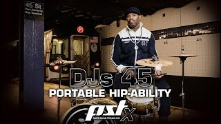 """PORTABLE HIP-ABILITY with Daru JonesThe PST X DJs 45 Set was created in collaboration with the soulful Daru Jones, whose church gospel roots led him to the status of being a sought-after drummer and producer/musical director in the hip-hop, soul and rock scene. Highly praised main stream associations include top acts such as Jack White and Jamie Lidell. His very own style - musically and otherwise - led to critical acclaim in top magazines and appearances on national television programs. Always on the go, Daru desired a highly portable cymbal set for hip-hop sessions, DJ Jams, and other sit-ins that spontaneously present themselves, enabling him to preserve his personal sound in modern urban mobility. The concept was developed in the PST X series, which provides a suitable basis for the type of fast and dry sounds that perfectly fit the world of Hip-hop & Electronica percussion. It is executed with a set consisting of a 12"""" Crash, 12"""" Ride and 12"""" Hats.12"""" PST X DJs 45 RIDE12"""" PST X DJs 45 CRASH12"""" PST X DJs 45 HATSThe 12"""" DJs 45 Crash is a fast, explosive cymbal with dirty fizz for short, quick accents. 12"""" DJs 45 Hats offer a distinct dry stick sound, an open sound with a muted trashy hiss and a chick that's a stupendous dry clap. The DJs 45 12"""" Ride's dominant feature is the distinct, full bell; it also offers a dry, bell-like ping and snappy edge accents. The Crash and Hats Top cymbals feature the characteristic PST X hole pattern. Despite their size all models offer ample volume and projection. The DJ theme and the 45 rpm 12-inch single - as the archetypical DJ instrument - served as guidance in the overall design and naming of the DJs 45 set. The Ride thus visually mimics a vinyl record. As a tribute to Daru's inspiration, his Rusic Records label logo has further been placed on the cymbals. PST X are made in Switzerland using modern, innovative methods.MORE INFO ABOUT THE PSTX DJs 45:http://paiste.com/e/cymbalsoverv.php?family=60&menuid=393&action=setsView Dar"""