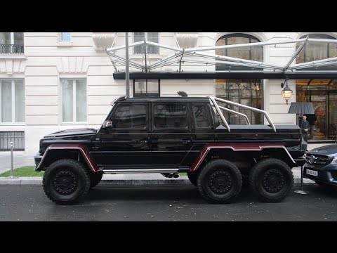 Mercedes G 6x6 BRABUS B63S 700 start + Ford Raptor Shelby Baja 700 in Paris