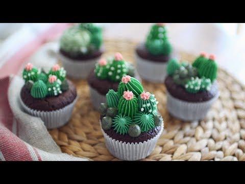 Brownie Cactus Cupcakes! 브라우니 선인장 컵케이크 만들기