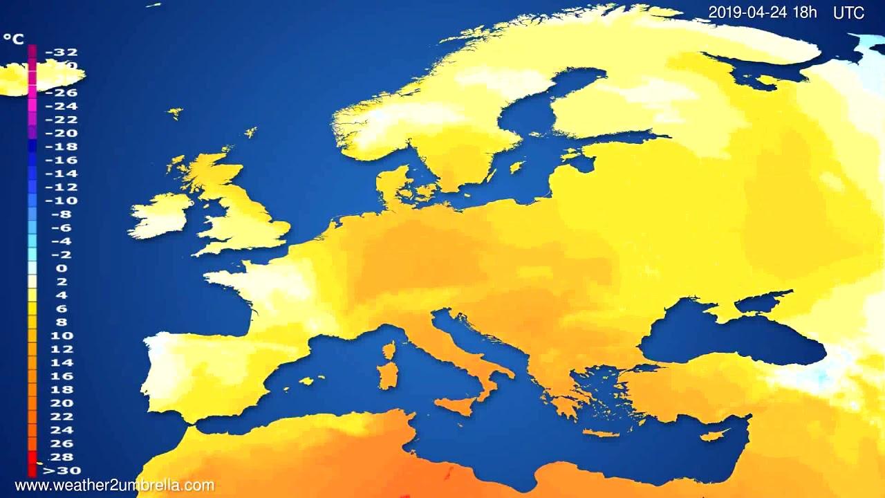 Temperature forecast Europe // modelrun: 12h UTC 2019-04-21