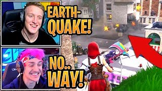 Streamers React to New *LIVE* Earthquake Event DESTROYING Tilted Towers Building! - Fortnite