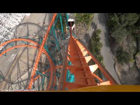 six flags magic mountain - Front Rider's Perspective on Goliath. Giovanola: Mega Coaster Length: 4500' Height: 235' Drop: 255' Inversions: 0 Speed: 85 mph Max Vertical Angle: 61 Degrees.