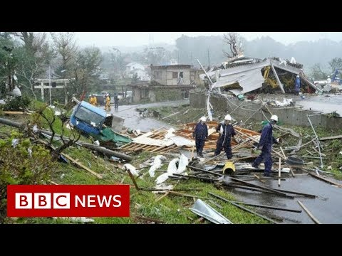 BBC News Japan hit by biggest typhoon in decades -
