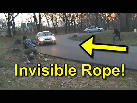 Funny Invisible Rope Prank