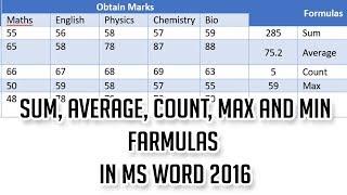 Word 2016 tutorials: Sum Average Count Max and Min formulas