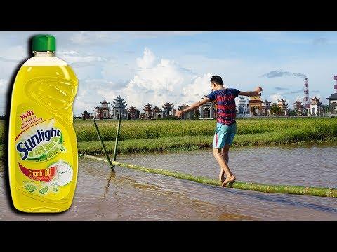NTN - Thử Thách Đi Trên Cầu Tre Xà Phòng (Walking on a bamboo bridge  with soap on it challenge)