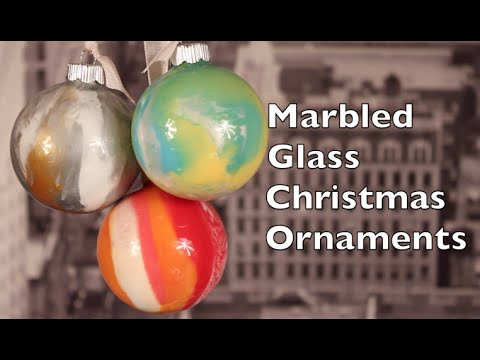 decorazione natalizia – palline di natale con la tecnica marble