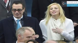 Steven Mnuchin with his wife, actress Louise Linton. Treasury Secretary Steven Mnuchin's wife, Louise Linton, was being blasted ...