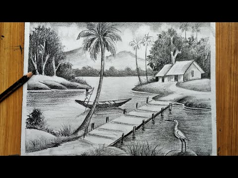 Play this video how to draw easy pencil sketch  scenery ,landscape pahar and river side scenery drawing,
