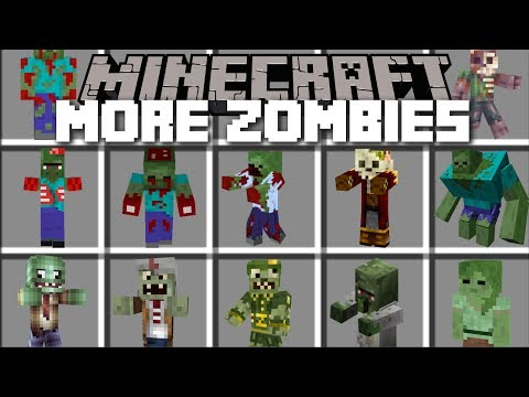 Minecraft MORE ZOMBIES MOD / DEFEND THE VILLAGERS LAB AND SAVE THEM!! Minecraft