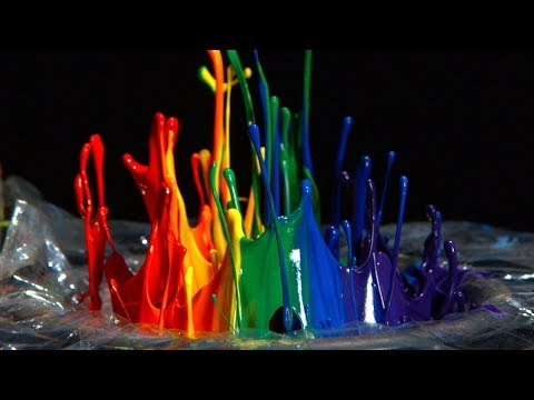 Rainbow Paint on a Speaker - 12,500fps - The Slow Mo Guys