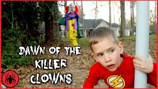 Scary Killer Clown: Dawn of The Killer Clowns vs The Flash In Real Life Movie Comics SuperHero Kids