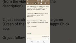 Link for HappyChick app download:https://youtu.be/Q-58iEQvkQsInclude PSP emulator!!Enjoy!My games download & install tutorial videos:Playlist: https://www.youtube.com/playlist?list=PLunMrIF35XpRzkQxHhNsYpHq-G_ltWoopGames list in this Playlist:Command & Counquer Red Alert 3Crash Bandicoot (of the titans) of the PSP run on AndroidMinecraft PE 0.15.8Tomb Raider LegendTomb Raider The Angel of darkness (TRAOD)Pokemon Go 0.35Pokemon Platinum of the Nintendo DS on AndroidPortal 2 PCEmulator of PSP/PS/DS/GameBoy/Nintendo 64 on Android (Happy Chick)Counter Strike Condition ZeroMidtown Madness full versionThe original built-in games of Windows XP and 7