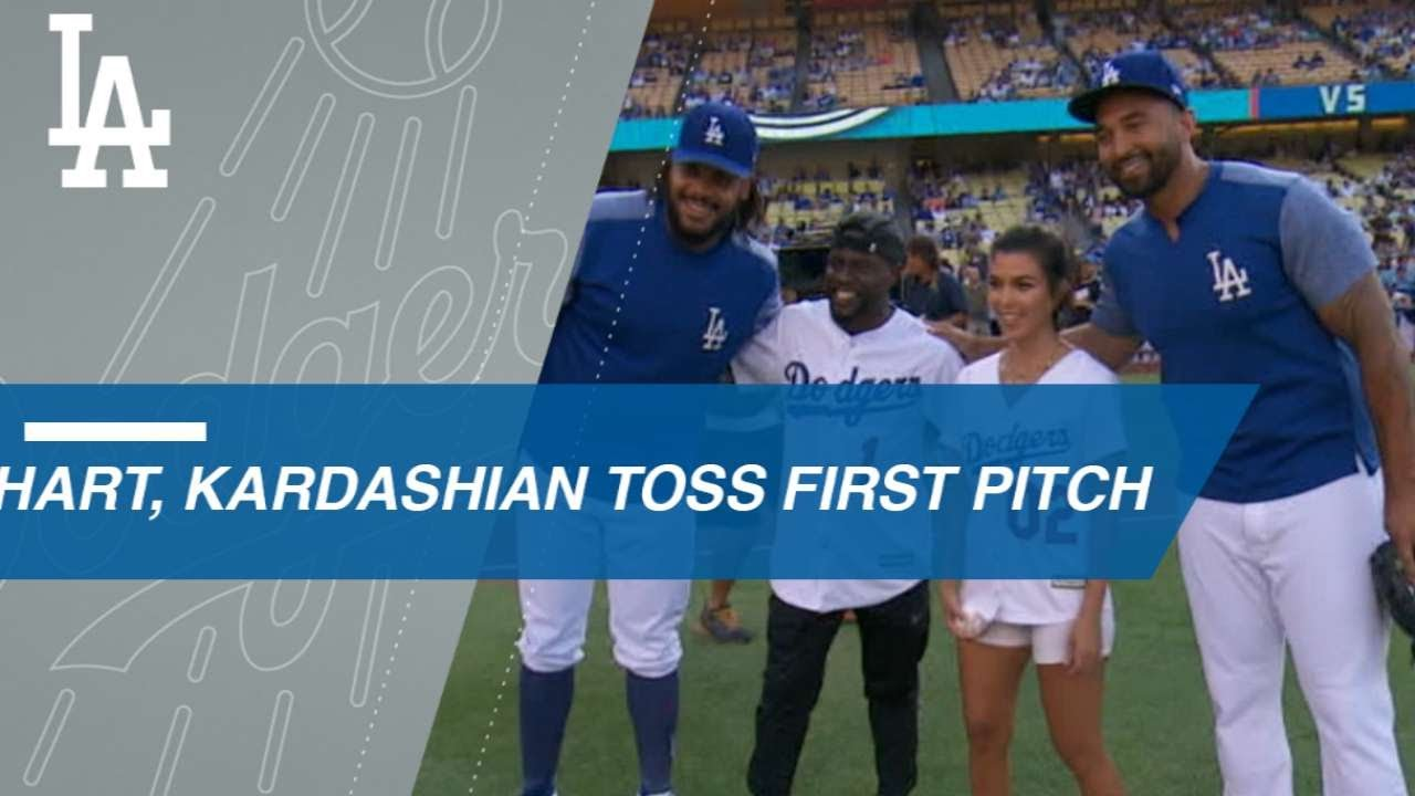 Hart and Kourtney Kardashian throw out first pitch