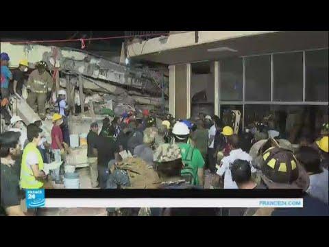 العرب اليوم - شاهد: فرق الإنقاذ تحاول البحث عن مفقودين جراء زلزال المكسيك