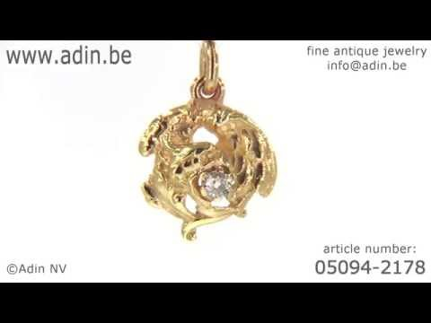 Art nouveau griffin pendant with diamond. (Adin reference: 05094-2178)