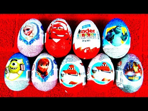 Kinder Surprise Eggs Disney Frozen Princess Anna Snow Queen Elsa Planes Cars Surprise Eggs FluffyJet